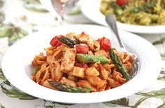 Whole Grain Pasta with Sun-Dried Tomato Pesto, Chicken and Roasted Vegetables