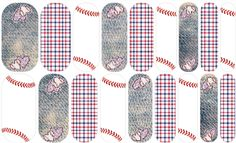 Play ball, Washington! | Jamberry | Cute heart-shaped patches on top of denim, matched with red, white and blue plaid and baseball stitching. The perfect accent for a Washington Nationals fan! |  | Nail art design by Rachael Snow using Jamberry Nail Art Studio | Join my Facebook group to see more!  https://www.facebook.com/groups/snowberriesvip/ | #snowberriesnas, Jamberry NAS, Nail Art Studio, Washington Nationals baseball, baseball nail art, denim nails