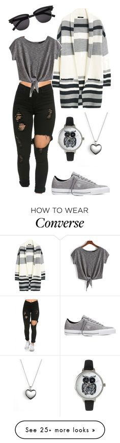 """Striped extreme"" by zana-k on Polyvore featuring MANGO, Converse, Pandora, Yves Saint Laurent, Olivia Pratt, women's clothing, women, female, woman and misses"