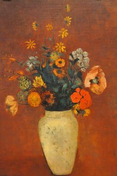 """Odilon Redon """"Bouquet in a Chinese Vase"""" Pastel"""