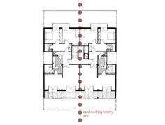 αξονες συμμετρίας και διαχωρισμος διαμερισμάτων σε κάτοψη της πολυκατοικίας στην οδό σεμιτέλου, Βαλσαμάκης Νίκος 1951-1953 Floor Plans, Diagram, Group, Architecture, Arquitetura, Architecture Illustrations, Architects
