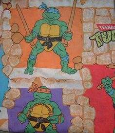 Vintage Teenage Mutant ninja turtle fitted sheet 1988...bedding from ages 3-6 (probably '89-'92)