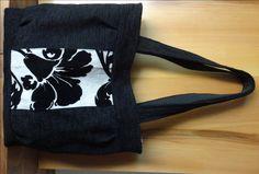 NORA- 39 Borsa in tessuto cretonne nero con fiore nero in rilievo di BorseRose su Etsy