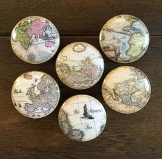 inch old world maps cabinet knobs drawer pulls brown antique look by HolyChicBoutiqueCo on Etsy
