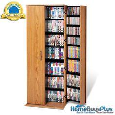 Oak & Black Grande Locking Media Storage Cabinet.  $299.03