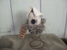 Old Quilt Bird House in Rusty Bed Spring with by chickenhearts, $12.00