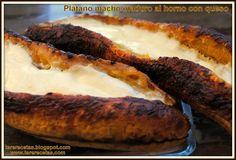 Plátano macho maduro al horno con queso. :>Las recetas de Tere;;