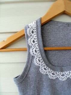 add lace to a t-shirt. a simple refashion. crochet the lace and add! :)