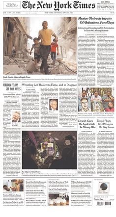 #20160423 #USA #NYC #NewYorkCity Saturday APR 23 2016 #NYT #TheNewYorkTimes20160423 http://www.newseum.org/todaysfrontpages/?tfp_show=80&tfp_page=4&tfp_id=NY_NYT