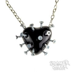 Black Broken Heart Necklace With Screws (goth, jewellery, punk, emo,... ($35) ❤ liked on Polyvore