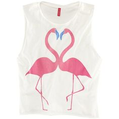 Pink Flamingo Cropped Tank ($20) ❤ liked on Polyvore featuring tops, cotton tank, pink tank top, crop tank top, cotton tank tops and pink top