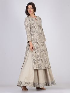 Buy Grey Dabu printed Linen Kurta Women Kurtas Spring Ready chambray cotton apparel Online at Jaypore.com