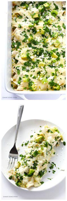 Creamy Crab & Avocado Enchiladas | gimmesomeoven.com