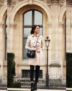 zara trench + black // parisian style!
