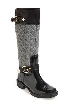 Posh+Wellies+'Peacon'+Quilted+Tall+Rain+Boot+(Women)+available+at+#Nordstrom