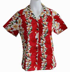 Womens Panel Ginger Flowers Hawaiian Aloha Shirt 2XL RED >>> You can find more details by visiting the image link.