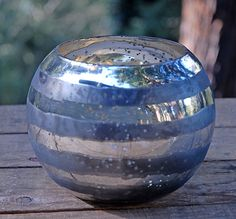 Striped Bubble Bowl Vase 5in