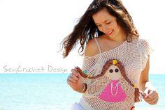 Crochet top beige cotton  patch girl Coraline by SexyCrochetByOlga, €60.00