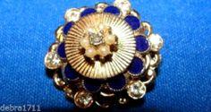 Coro goldtone cobalt blue enamel rhinestone pin brooch BOOKPIECE COLLECTIBLE