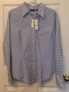 NWT New York & Co. Size XL Long Sleeve Button Front Collared Shirt Blue Plaid #NewYorkCompany #ButtonDownShirt #CareerCasualClub