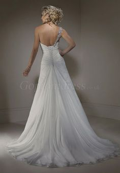 a-line Chiffon one shoulder ruched long Wedding Dress picture 2