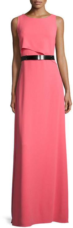 Halston Heritage Sleeveless Asymmetric-Flutter Belted Gown, Strawberry