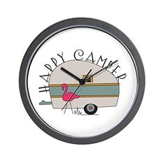 CafePress  Happy Camper  Unique Decorative 10 Wall Clock ** You can find more details by visiting the image link.