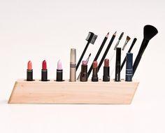 Cosmetic Makeup Organizer Wood Countertop Organizer Brush Holder SCARLETT