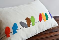 Felt Appliqued Pillow Cover  Bird Silhouette Pillow  by pillowme, $49.00