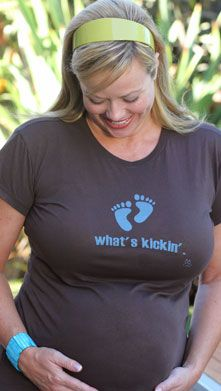"""2 Chix """"What's Kickin'""""-Blue Feet Voluptuous Maternity T-Shirt   Funny Maternity T-Shirts  Available at Due Maternity www.duematernity.com Maternity Wear, Maternity Fashion, Funny Maternity, Pregnancy Humor, Pregnancy Tips, Pregnancy Must Haves, Boy Blue, Baby Shower Themes, Best Sellers"""