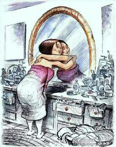 Mirror Work --Louise Hay - Love yourself first! Louise Hay, Body Love, Loving Your Body, Self Compassion, Self Acceptance, Illustration, Body Image, Self Love, Decir No