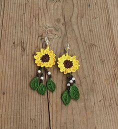 Sunflower Jewelry Set Sunflower Dangle E - Diy Crafts Sunflower Ring, Crochet Sunflower, Sunflower Jewelry, Crochet Flowers, Crochet Earrings Pattern, Crochet Necklace, Crochet Patterns, Bijoux Diy, Crochet Accessories