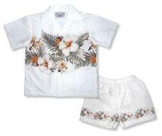 Hibiscus White Hawaiian Boy Cabana Border Shirt & Shorts Set  #flipflop #jesussandal #jesus #palihawaii #jesussandals #sandal