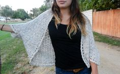 PDF PATTERN Crochet Somerset Shrug, Shawl Cardigan w/sleeves-Easy, Beginner