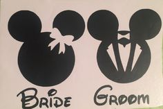 A personal favorite from my Etsy shop https://www.etsy.com/listing/489816019/mickey-and-minnie-bride-and-groom-decals