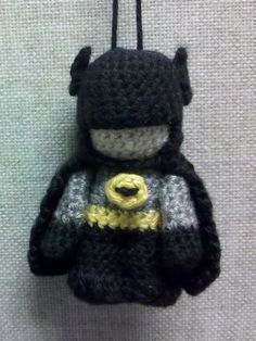 Pattern: Amigurumi Batman. I think it's modified CP3O that i already own - look up the pattern and change colors - not sure about the mask...