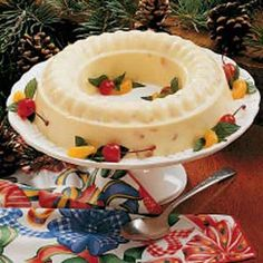 Eggnog Molded Salad Recipe -For an excellent holiday gelatin salad, try this one. It looks so lovely on a platter and tastes good with the fruit and a hint of eggnog flavor. It goes well with any meal because it's refreshing. -Alice Ceresa, Rochester, New York