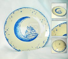 Moon Bunny Plate by ~thedustyphoenix on deviantART