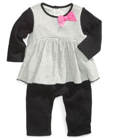 First Impressions Baby Coverall, Striped Dotted Layered Look - Kids Baby Girl (0-24 months) - Macy's