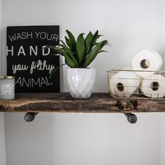 """Sign painted on barn wood. """"wash your hands you filthy animal"""" x Sawtooth hook added to back for hanging. Colors: black sign with white letters -custom colors/sizes available. Barn Wood Signs, Downstairs Toilet, Filthy Animal, Bathroom Renos, Painted Signs, Kitchen Decor, Hands, Animals, Etsy"""