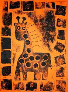 African Animal Collagraph Prints - Artsonia Lesson Plan