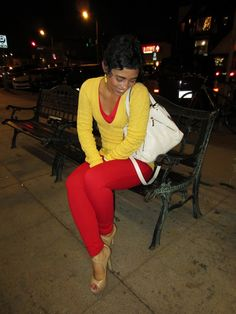 Red Skinnies & Yellow Sweater Color blocking at it's best mimigstyle.com