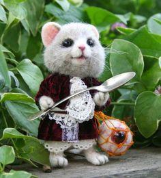 Alice's Wonderland Dormouse OOAK Needle felted Artist by SteviT, $425.00
