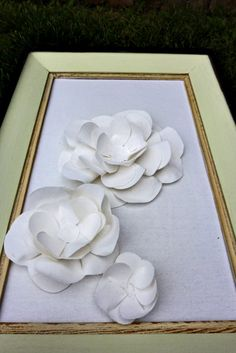 recycled frame and fabric flowers