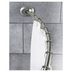 tension curved shower curtain rod brushed nickel threshold target