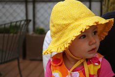 Baby sunhat hat with ruffles and ties free sewing pattern and DIY tutorial