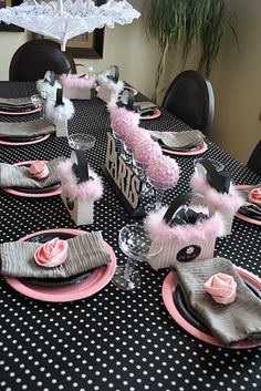 Black,White, and Pink Decorated Table with a French Twist.  22 years ago these were the colors of my wedding - how cool!