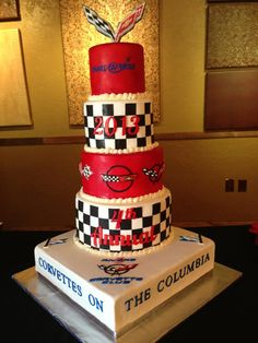corvette cake with edible corvette logos, make a wish logo, lettering, checkerboard, 3 rivers corvette club logo, McCurley Integrity logo. Corvettes On the Columbia Car Show 2013