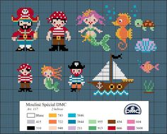 Cross stitch pattern, pirates, mermaid, under the sea. El blog de Dmc: Diagramas veraniegos de punto de cruz
