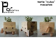 serie cubo macetas de madera articuladas